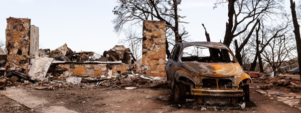 burnt house and car